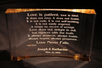 "Engraved Acrylic Plaque with ""Love is Patient"" verse"