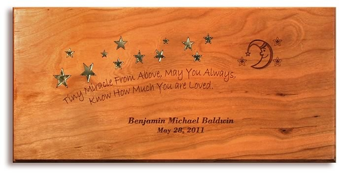 personalized new born baby plaque constructed of solid cheery wood