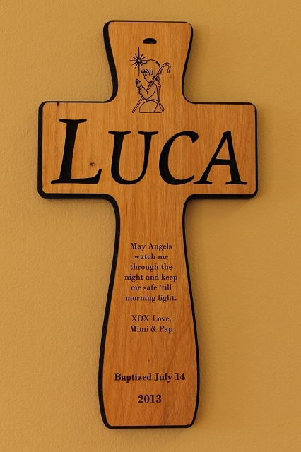 Custom engraved wood baby cross larger photo negle Gallery
