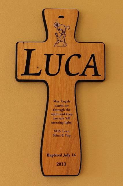 custom engraved wood baby cross