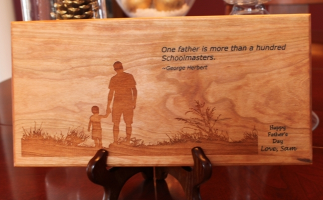 personalized solid cherry father s day plaque