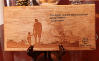 Solid Cherry Wood Father's Day Plaque