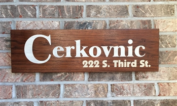 Walnut Address Sign Engraved and Color-Filled
