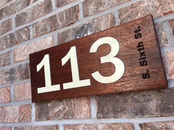 Contemporary Wood Address Sign with Acrylic Letter