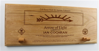 Arrow of Light Plaque with built in arrow hanger