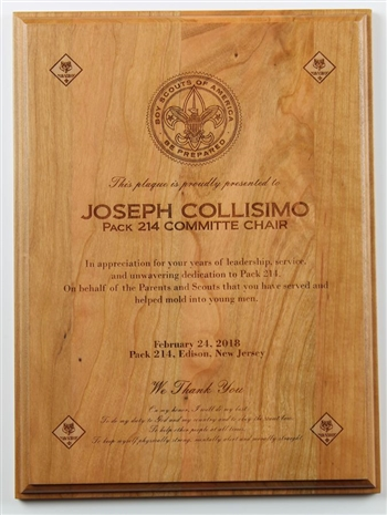 Scout Leader Award made of solid cherry and engraved with custom recognition details