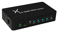 HDMI Switch Ultra Slim 5 in 1 out Ports Aluminum with IR Remote and AC Adapter