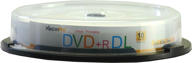 Blank CD DVD+R DL 8X 8.5GB 240 Min Recordable Double Layer DVD 10 Pack Storage Media in Spindle