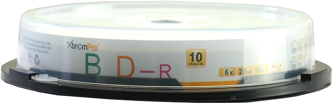 Blank CD BD-R 6 X 25GB 135 Minutes Blu-Ray 10 Pack Storage Media in Spindle