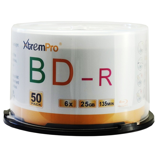 Blank CD BD-R 6X 25GB 135Min Blu-Ray 50 Pack Storage Media in Spindle