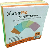 XtremPro CD DVD Sleeves w/ Clear Window and Flap 100Pcs Purple, Yellow, Blue, Orange, Green - 5 Assorted Colors (11090)