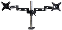 "Dual Monitor Mount LCD Desk Arm 13""-27"" inch PC Computer Screen Adjustable Tilt & Swivel 360° Supports VESA 75x75 100x100 Max Load 17.5 Lbs"