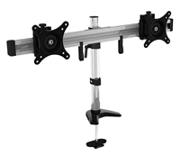 "Dual LCD Monitor Desk Stand Mount Fully Adjustable Fits 2 Screens 15""-24"" inch VESA 75x75 100x100 17.6 lbs w/ Anti-theft kit"