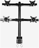 "Quad Monitors Desk Adjustable Mount Tilt  13"" Inch 4 Screens Max Load 22 lbs C-Clamp"