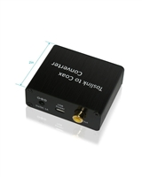 Toslink Optical to Coax Coaxial Digital Audio Converter, Support Dolby Digital & DTS 5.1, Sampling Rates 44.1 kHz, 48kHz, 96 kHz, 192kHz - Black (65040)