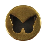 Antique Brass Plate Slider - Heart Circle 10mm