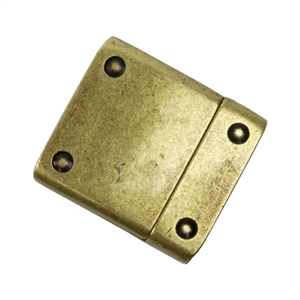 Antique Brass Plate Magnetic Leather Clasp - Flat Rivet 15mm