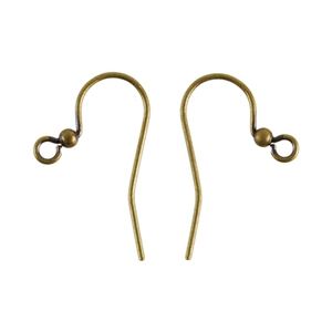 Antique Brass Earwires - 25mm with 2mm Ball