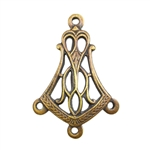 Brass Stamping - Filigree Bell Triple Connector