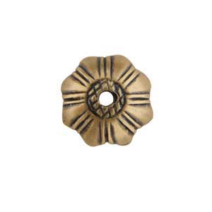 Bronze Plate Bead Cap - Stamped Flower 9mm Pkg - 2