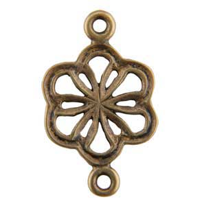 Bronze Plate Connector - Flower 11mm x 18.5mm Pkg - 3