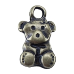 Bronze Plate Charm - Teddy Bear 6mm x 9mm Pkg - 3