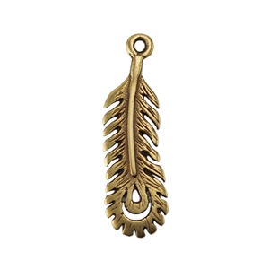 Bronze Plate Charm - Peacock Feather Medium 19mm x 2mm Pkg - 1