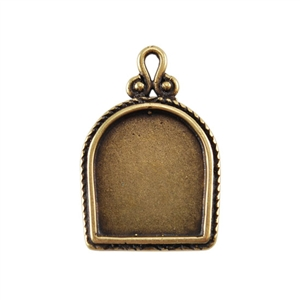 Bronze Plate Pendant - Simple Frame 23mm x 16mm Pkg - 1