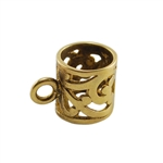 Bronze Plate Tube Bail with Ring - Filigree 9mm x 13mm Pkg - 2