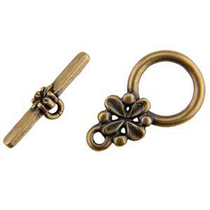 Bronze Plate Toggle Clasp - Circle Flower 20mm x 18mm - 1 Set