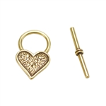 Bronze Plate Toggle Clasp - Mini Heart 19mm x 18mm - 1 Set