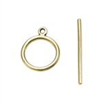 Bronze Plate Toggle Clasp - Mini Wire Round 15mm x 22mm - 1 Set
