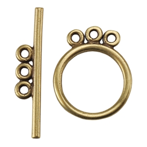 Bronze Plate Toggle Clasp - 3 Strand Circle 15mm x 21.5mm - 1 Set