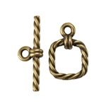 Bronze Plate Mini Toggle Clasp - Roped Square