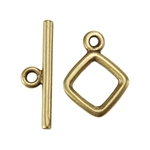 Bronze Plate Mini Toggle Clasp - Diamond 12.5mm x 16mm - 1 Set