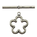 Bronze Plate Toggle Clasp - Flower 22mm x 33mm - 1 Set