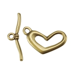 Bronze Plate Toggle Clasp - Funky Heart 21mm x 24mm - 1 Set