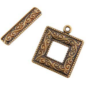 Bronze Plate Toggle Clasp - Picture Frame 22mm - 1 Set