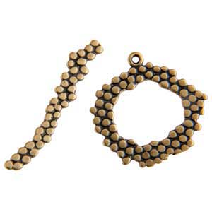Bronze Plate Toggle Clasp - Wreath Dot 20mm x 29mm - 1 Set