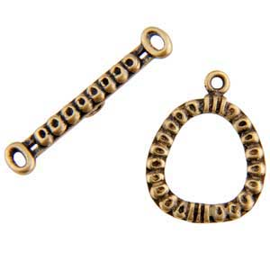 Bronze Plate Toggle Clasp - Circle Frame 21mm x 28mm - 1 Set