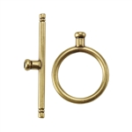Bronze Plate Toggle Clasp - Round Thin Large Crimp End