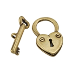Bronze Plate Toggle Clasp - Lock & Key 17mm x 15mm - 1 Set