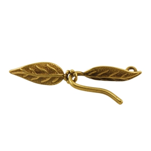 Bronze Plate Hook & Eye Clasp - Paired Leaves 6mm x 38mm - 1 Set