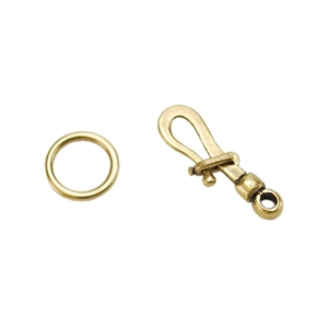 Bronze Plate Hook & Eye Clasp - Locking 29.3mm x 10.5mm - 1 Set
