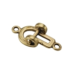 Bronze Plate Hook & Eye Clasp - Contemporary Small 17.7mm x 8.2mm - 1 Set