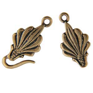 Bronze Plate Hook & Eye Clasp - Leaf 39mm - 1 Set