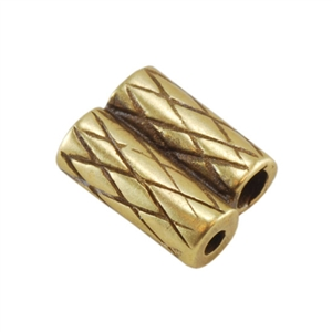 Bronze Plate Slide Ends - Double Strand 1mm Pkg - 2
