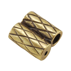Bronze Plate Slide Ends - Double Strand 2mm Pkg - 2
