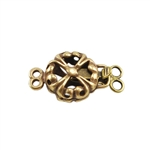 Bronze Plate Double Strand Clasp - Puffed Fleur 8.8mm x 15mm Pkg - 1