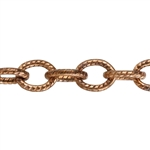Copper Chain - Textured Oval Cable 5mm - 1 Foot